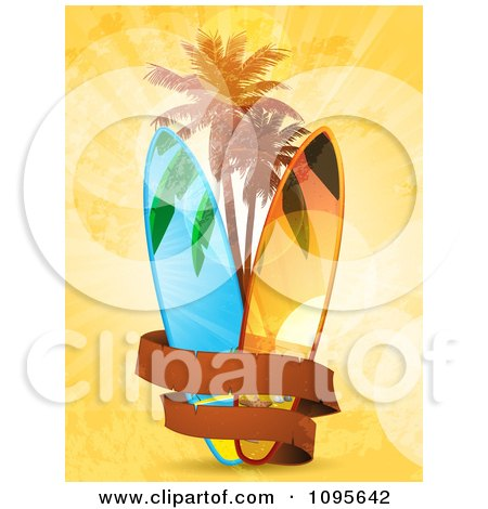 Blank Banner Around Surf Boards And Palm Trees On Orange Grunge And Flares Posters, Art Prints