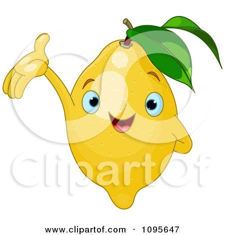 Clipart Happy Presenting Lemon Character - Royalty Free Vector Illustration by Pushkin