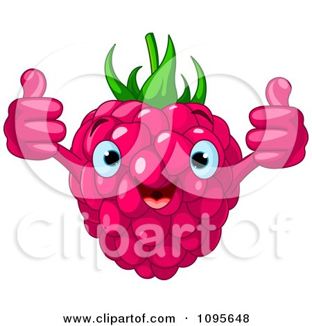Clipart Happy Raspberry Character Holding Two Thumbs Up - Royalty Free Vector Illustration by Pushkin