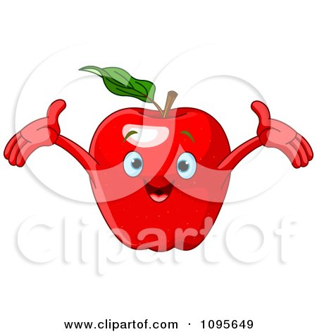 Clipart Happy Red Apple Character - Royalty Free Vector Illustration by Pushkin