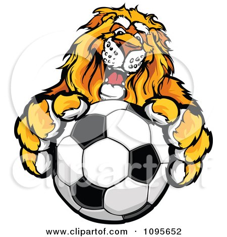 Clipart Male Lion Mascot Holding Out A Soccer Ball - Royalty Free Vector Illustration by Chromaco