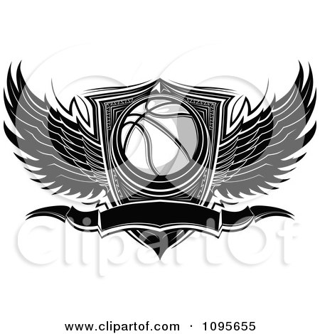 Clipart Black And White Winged Basketball Banner And Shield - Royalty Free Vector Illustration by Chromaco