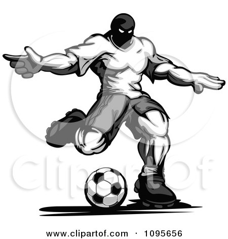 Clipart Grayscale Muscular Soccer Player Kicking - Royalty Free Vector Illustration by Chromaco
