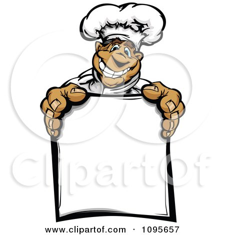 Clipart Happy Hispanic Chef Holding A Menu Board - Royalty Free Vector Illustration by Chromaco