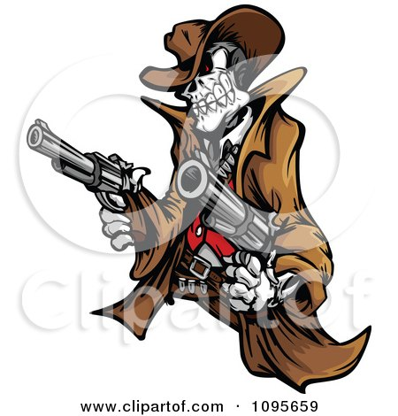 Clipart Outlaw Skeleton Cowboy Holding Two Pistols - Royalty Free Vector Illustration by Chromaco