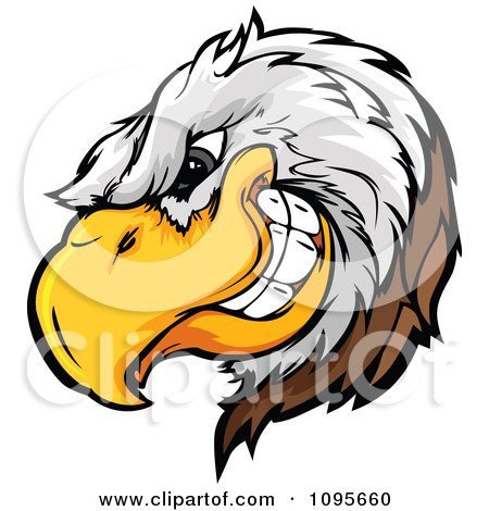 Clipart Grinning Bald Eagle Mascot Head - Royalty Free Vector Illustration by Chromaco