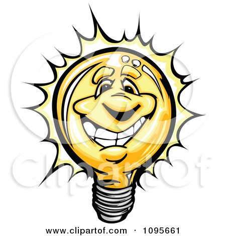 Clipart Happy Lightbulb Mascot Smiling And Shining - Royalty Free Vector Illustration by Chromaco