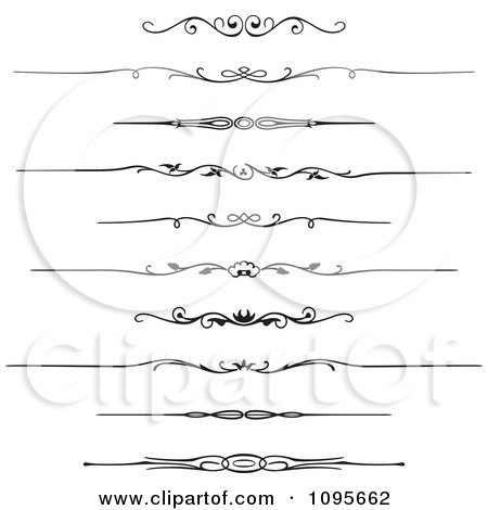 Clipart Black And White Rule Border Design Elements 1 - Royalty Free Vector Illustration by Frisko