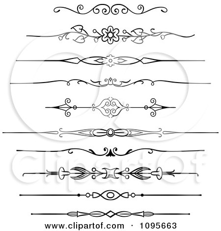 Clipart Black And White Rule Border Design Elements 2 - Royalty Free Vector Illustration by Frisko