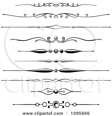 Clipart Black And White Rule Border Design Elements 5 - Royalty Free Vector Illustration by Frisko