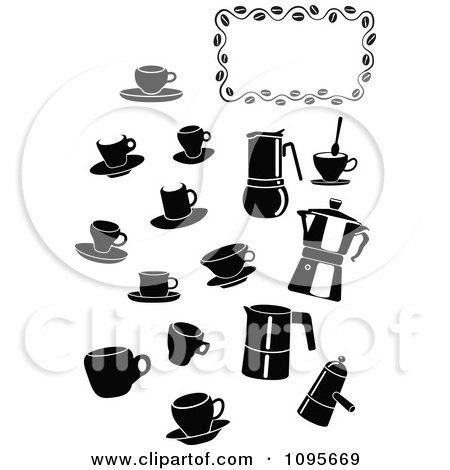 Clipart Silhouetted Black And White Coffee Mugs And Items With A Frame - Royalty Free Vector Illustration by Frisko