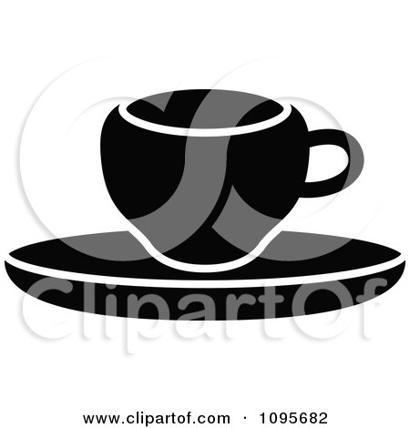 Clipart Silhouetted Black And White Coffee Mug And Saucer 1 - Royalty Free Vector Illustration by Frisko