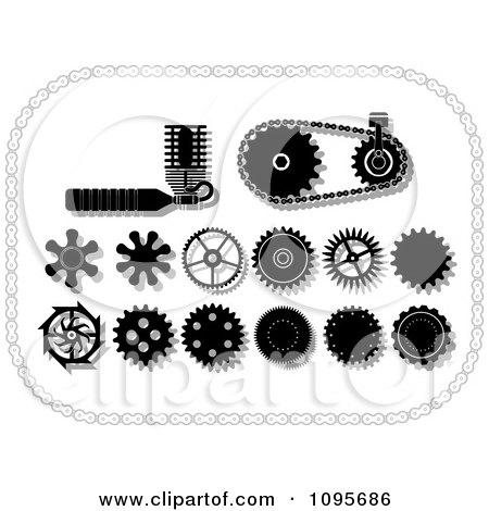 Clipart Black And White Gear Cogs Gears And Mechanical Items In A Chain Frame - Royalty Free Vector Illustration by Frisko