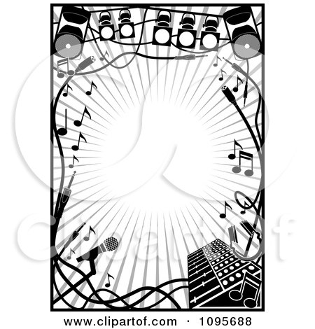 Clipart Black And White Stage Lighting And Music Frame Royalty Free Vector Illustration