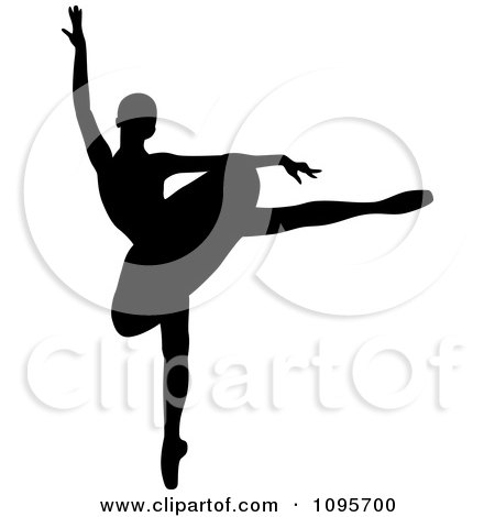 Clipart Silhouetted Elegant Ballerina Dancing 6 - Royalty Free Vector Illustration by Frisko