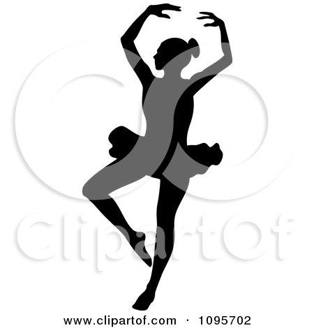 Silhouetted Elegant Ballerina Dancing 5 Posters, Art Prints