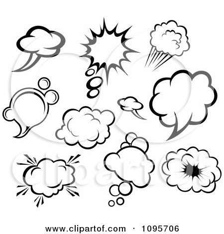 Clipart Black And White Comic Though And Sound Balloons - Royalty Free Vector Illustration by Vector Tradition SM