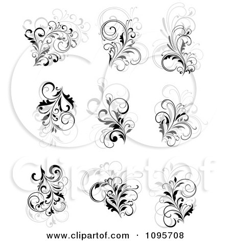 Clipart Black Gray And White Flourish Design Elements - Royalty Free Vector Illustration by Vector Tradition SM