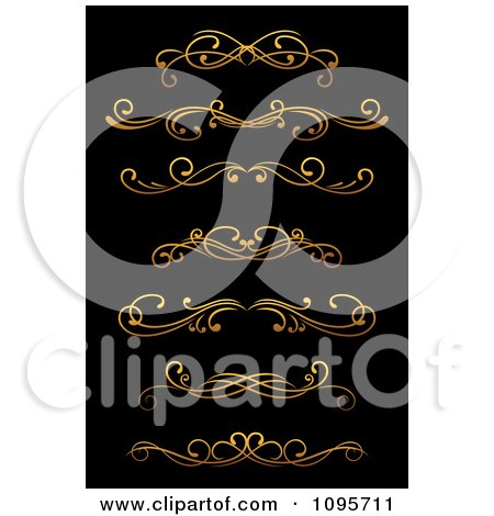 Clipart Golden Flourish Rule And Border Design Elements 11 - Royalty Free Vector Illustration by Vector Tradition SM