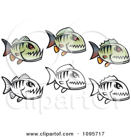 Clipart Gray Piranha Fish - Royalty Free Vector Illustration by ...