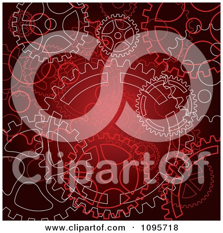 Clipart Red Steampunk Gear Cog Wheel Background - Royalty Free Vector Illustration by Vector Tradition SM