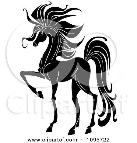 Clipart Elegant Black And White Prancing Foal Horse - Royalty Free Vector Illustration by Vector Tradition SM