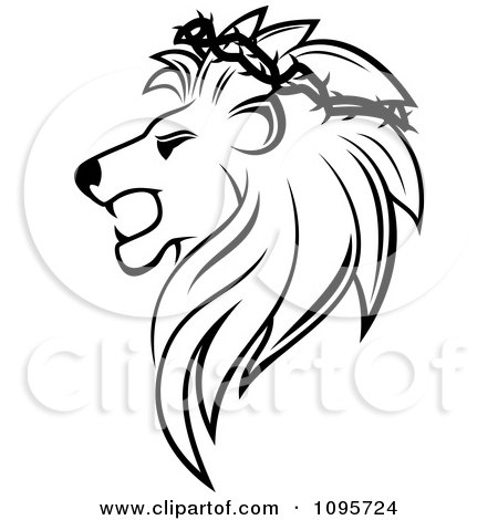 Clipart Black And White Lion Head In Profile With A Thorny Wreath - Royalty Free Vector Illustration by Vector Tradition SM
