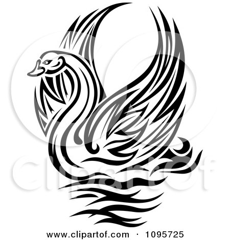 Clipart Black And White Graceful Swan Raising Its Wings - Royalty Free Vector Illustration by Vector Tradition SM