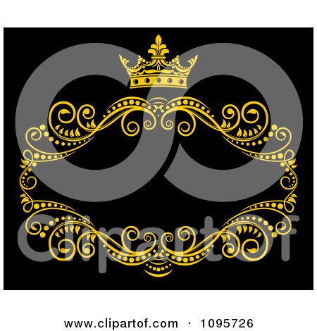 Clipart Gold Ornate Swirl Frame With A Crown And Copyspace On Black 1 - Royalty Free Vector Illustration by Vector Tradition SM