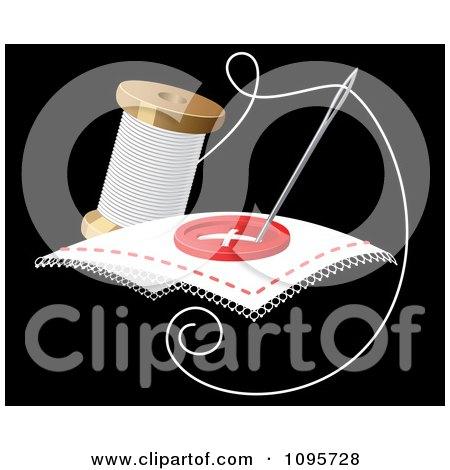 Clipart Needle And Spool Of Thread Sewing A Button - Royalty Free Vector Illustration by Vector Tradition SM