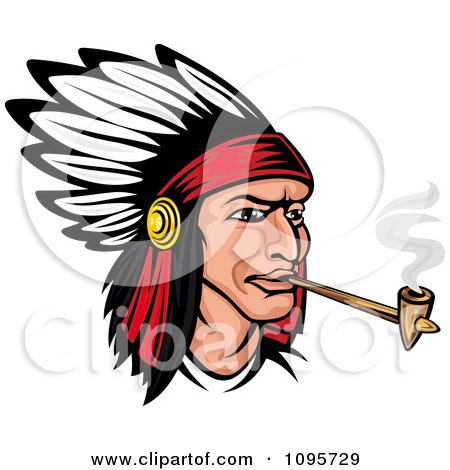 Clipart Native American Indian Chief Wearing A Feathered Headdress And Smoking A Pipe - Royalty Free Vector Illustration by Vector Tradition SM