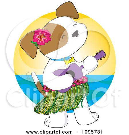 Clipart Hawaiian Puppy Wearing A Hula Skirt And Playing A Ukulele Against A Horizon - Royalty Free Vector Illustration by Maria Bell