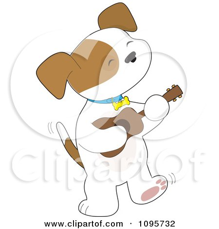 Clipart Cute Puppy Tapping His Foot And Playing A Ukulele - Royalty Free Vector Illustration by Maria Bell