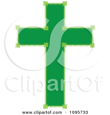 Clipart Ornate Green Cross - Royalty Free Vector Illustration by Maria Bell