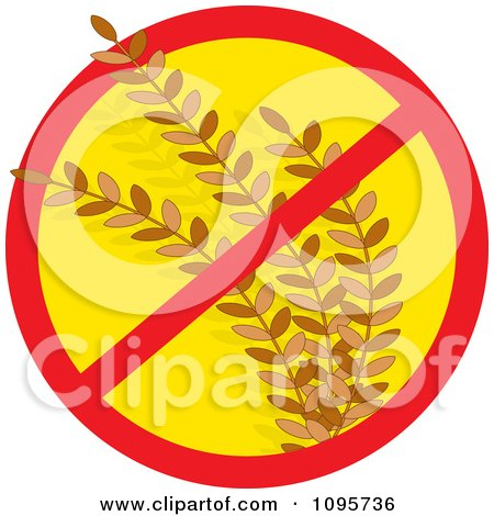 Clipart Restricted Symbol Over Wheat Gluten Allergy - Royalty Free Vector Illustration by Maria Bell