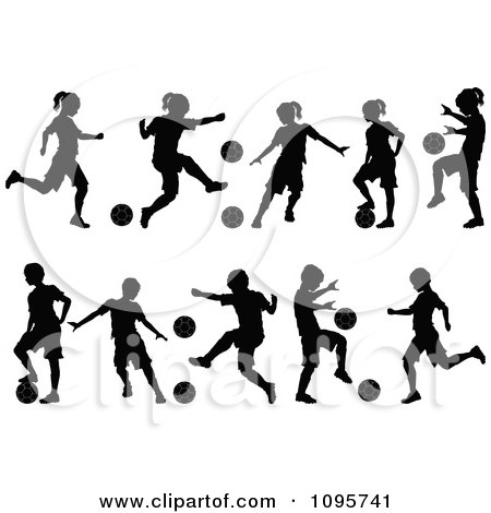 Clipart Silhouetted Boys And Girls Playing Soccer - Royalty Free Vector Illustration by Chromaco