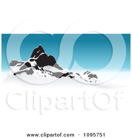Clipart Snow Capped Mountain Peaks And Blue Sky - Royalty Free Vector Illustration by dero
