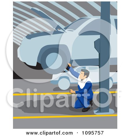 Clipart Male Mechanic Kneeling And Working Below A Car On A Lift In A Garage - Royalty Free Vector Illustration by David Rey