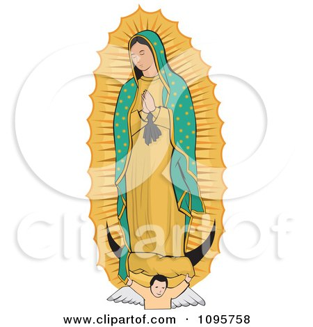 Clipart Angel Under The Virgin Of Guadalupe   Royalty Free Vector