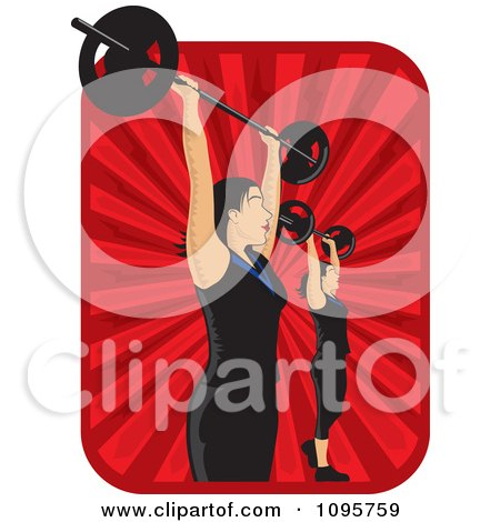 Clipart Women Lifting Bargells Over Red Rays - Royalty Free Vector Illustration by David Rey