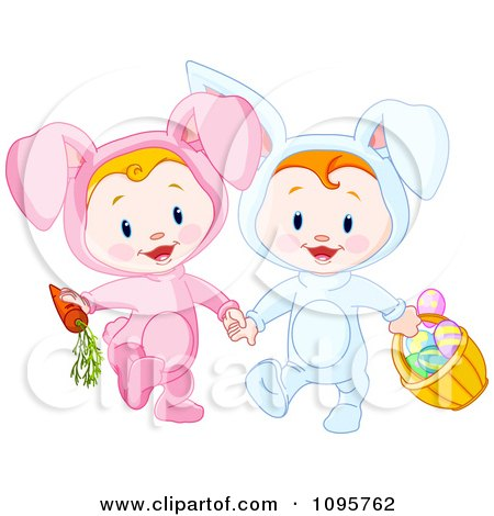 Clipart Two Easter Babies In Bunny Costumes With A Carrot And Basket Of Eggs - Royalty Free Vector Illustration by Pushkin