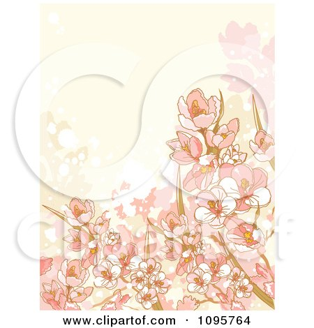 Clipart Beige And Pink Floral Background With Grunge - Royalty Free Vector Illustration by Pushkin