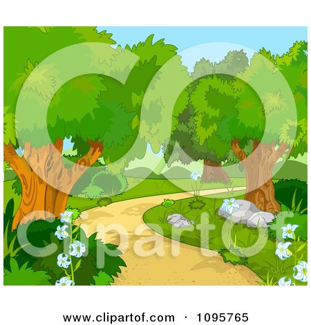 Clipart Foot Path Curving Through The Woods - Royalty Free Vector Illustration by Pushkin