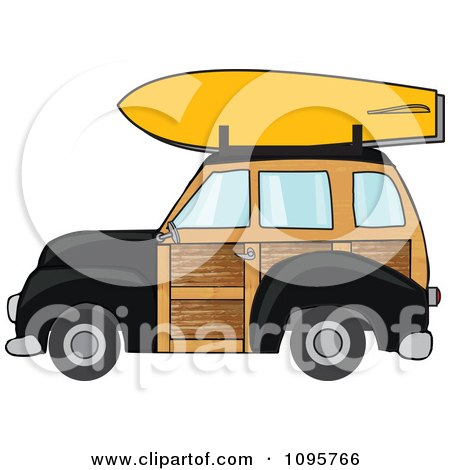 Clipart Black Woodie Station Wagon With A Surfboard On Top - Royalty Free Vector Illustration by djart