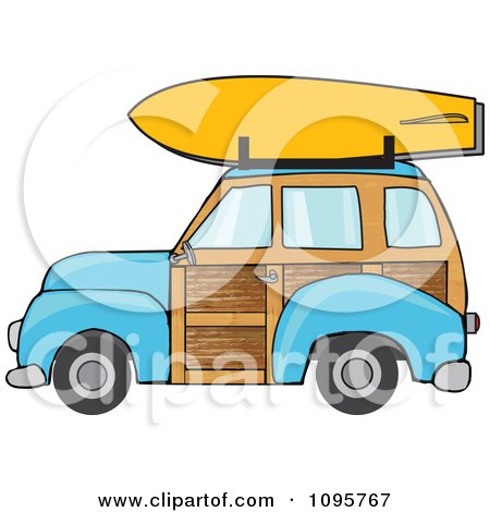 Clipart Blue Woodie Station Wagon With A Surfboard On Top - Royalty Free Vector Illustration by djart