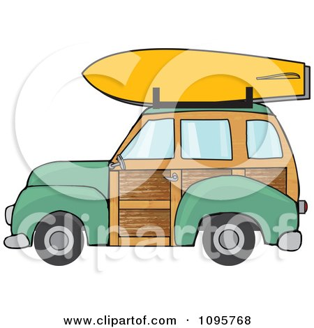 Clipart Green Woodie Station Wagon With A Surfboard On Top - Royalty Free Vector Illustration by djart