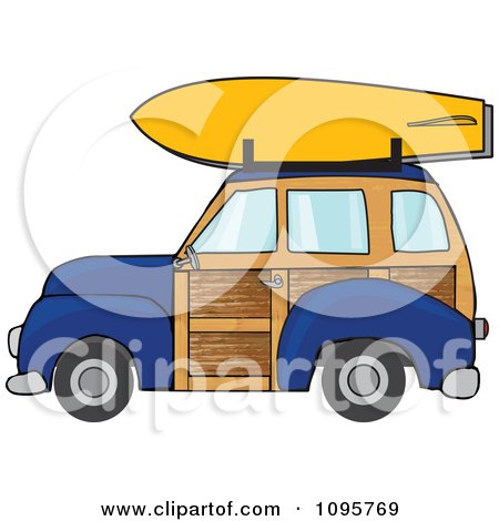 Clipart Navy Blue Woodie Station Wagon With A Surfboard On Top - Royalty Free Vector Illustration by djart