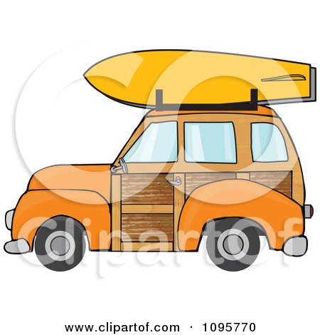 Clipart Orange Woodie Station Wagon With A Surfboard On Top - Royalty Free Vector Illustration by djart