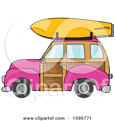 Clipart Pink Woodie Station Wagon With A Surfboard On Top - Royalty Free Vector Illustration by djart