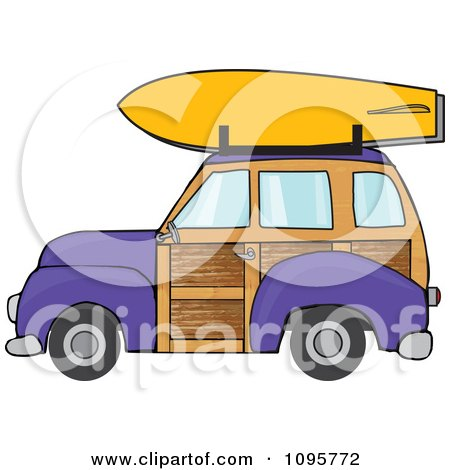 Clipart Purple Woodie Station Wagon With A Surfboard On Top - Royalty Free Vector Illustration by djart